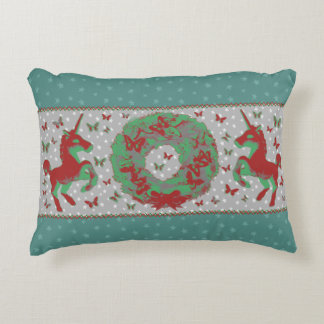 """Butterflies and Unicorns"" Christmas Pillow (Teal)"