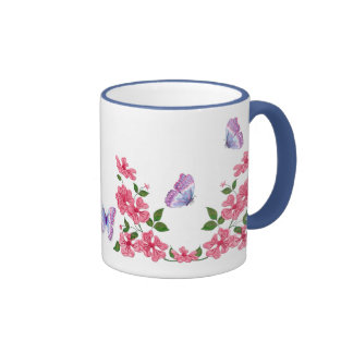 Butterflies and Wild Pink Roses Ringer Coffee Mug