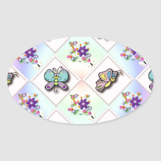 Butterflies and Wildflowers Oval Sticker