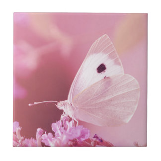 Butterflies Animals  Missing You  pink spring Small Square Tile
