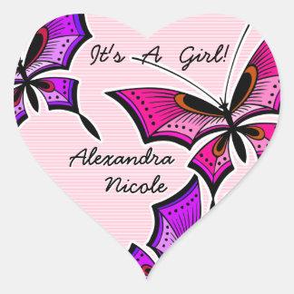 Butterflies Announce It's A Girl! (Heart Stickers) Heart Sticker