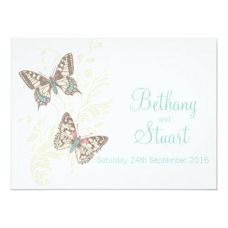Butterflies aqua teal wedding invitation