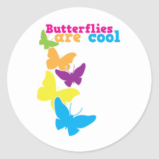 butterflies are cool classic round sticker