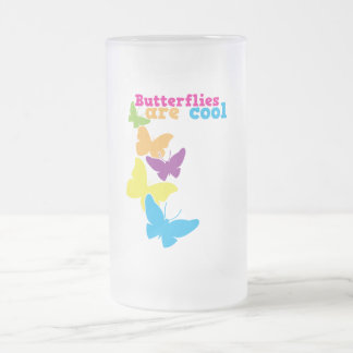 butterflies are cool frosted glass beer mug
