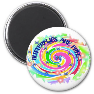 butterflies are free 2 inch round magnet