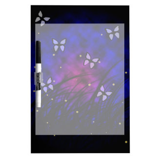 Butterflies at Night Dry Erase White Board