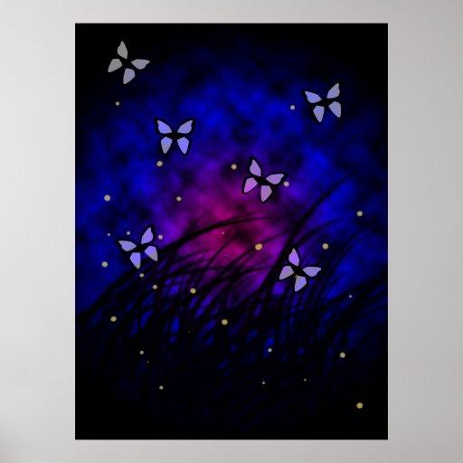 Butterflies at Night Poster