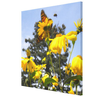 Butterflies, Bees N Sunflowers wrapped canvas Canvas Prints