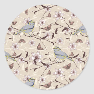 Butterflies Birds and Flowers Classic Round Sticker