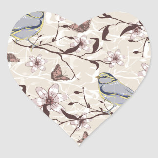 Butterflies Birds and Flowers Heart Sticker