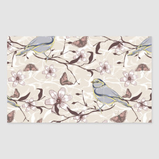 Butterflies Birds and Flowers Rectangular Sticker