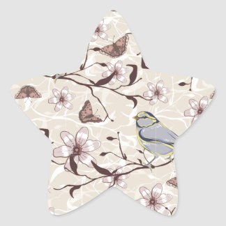 Butterflies Birds and Flowers Star Sticker