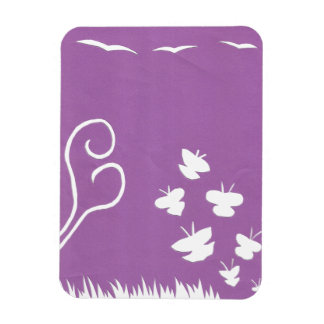 Butterflies, Birds and Plants Silhouette magnet