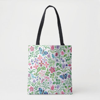 Butterflies Birds on Floral Pattern Reusable Tote Bag
