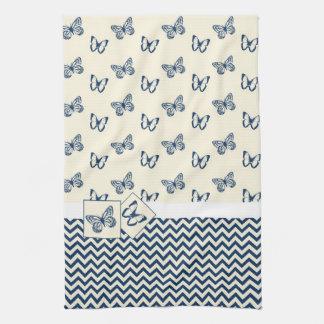 Butterflies & Blue Chevron Towels