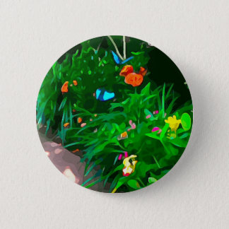 Butterflies Blue Digitized Pinback Button