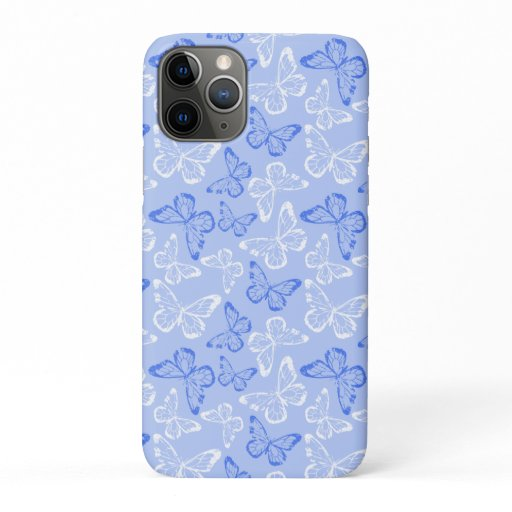 Butterflies Blue White iPhone 11 Pro Case