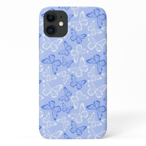 Butterflies Blue White iPhone 11 Case