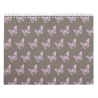 Butterflies brown purple calendar