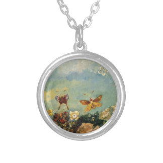 Butterflies by Odilon Redon Silver Plated Necklace