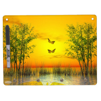 Butterflies by sunset - 3D render Dry Erase Board With Keychain Holder