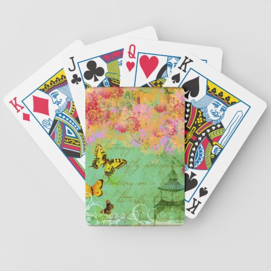 Butterflies Collage Art Playing Cards