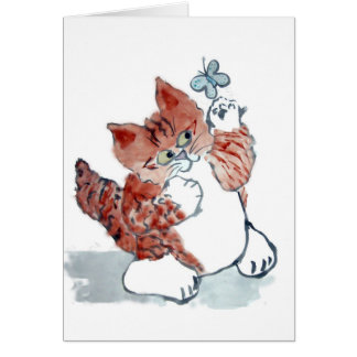 Butterflies Come Out after the Rain & Tiger Kitten Card