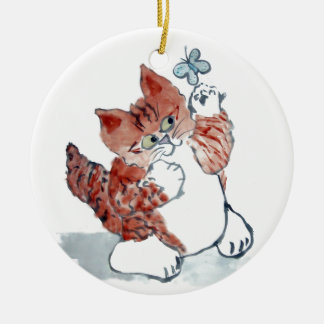 Butterflies Come Out after the Rain & Tiger Kitten Ceramic Ornament