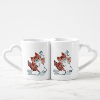Butterflies Come Out after the Rain & Tiger Kitten Coffee Mug Set
