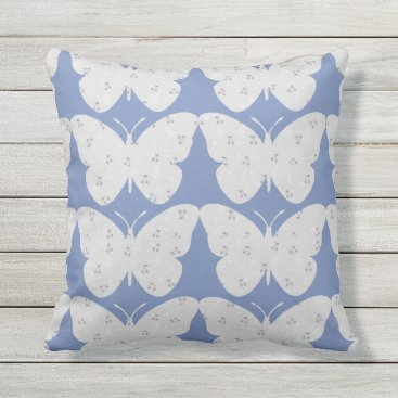 Beach Themed Butterflies-Country-Print(c)Blue & Gray Throw Pillow