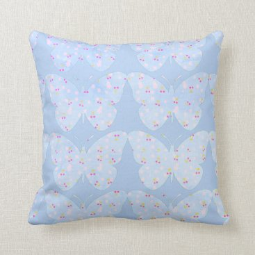 Beach Themed Butterflies-Country-Print(c) Sky Blue-Med Throw Pillow