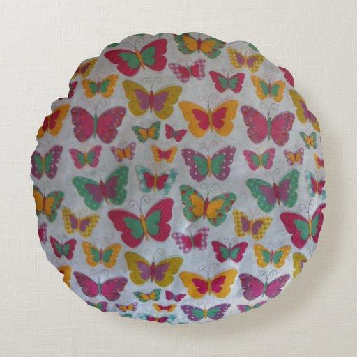 Butterflies Custom Polyester Round Throw Pillow Zazzle