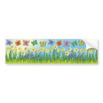 Butterflies & Daffodils Bumper Sticker