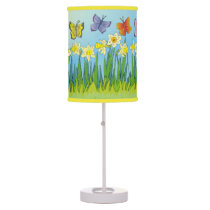 Butterflies & Daffodils Table Lamp