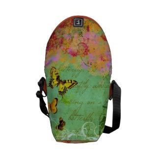 Butterflies Dancing on a Breeze Collage Art Bag Messenger Bag
