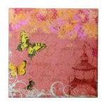 Butterflies Dancing on a Breeze Custom Tile (pink)