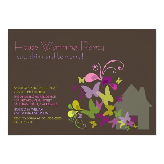 Butterflies & Deco Leaves House Warming Party Card