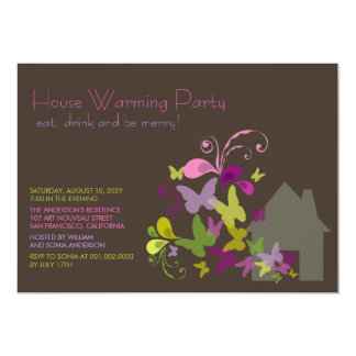 Butterflies & Deco Leaves House Warming Party 5x7 Paper Invitation Card