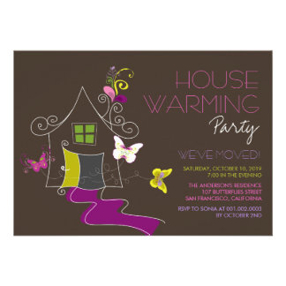 Butterflies Deco Leaves House Warming Party Invite Invitations