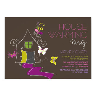 """Butterflies Deco Leaves House Warming Party Invite 5"""" X 7"""" Invitation Card"""