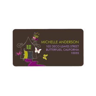 Butterflies & Deco Leaves New Home Address Labels