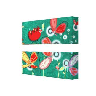 Butterflies delicate poppy canvas