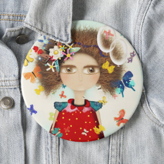 Butterflies Doll Afro Hair Doll Pinback Button