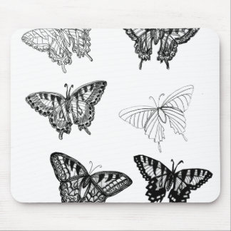Butterflies Drawing Black White CricketDiane Gifts Mouse Pad
