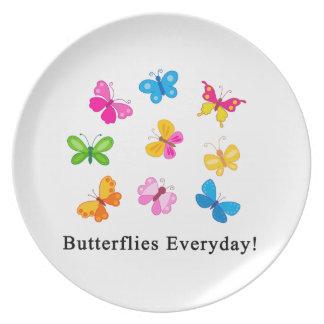 Butterflies everyday melamine plate