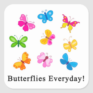 Butterflies everyday square sticker