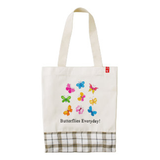Butterflies everyday zazzle HEART tote bag