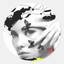 modern, creative, women, beauty, butterflies, woman, portrait, fantasy, butterfly, blackandwhite, collage, inspirational, artsprojekt, girl, Sticker with custom graphic design