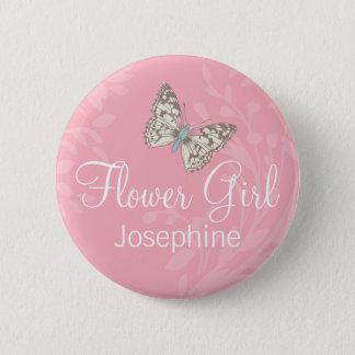 Butterflies Flower girl pink wedding pin / button
