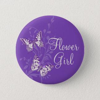 Butterflies flower girl purple wedding pin button